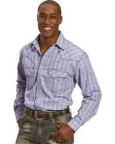 Crazy Cowboy Men's Blue Plaid Short Sleeve Western Snap Shirt