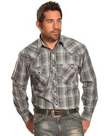 Crazy Cowboy Men's Grey Plaid Heavy Stitch Western Shirt