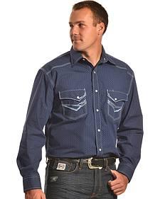 Crazy Cowboy Men's Blue Stitch Western Snap Shirt