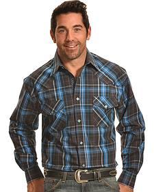Crazy Cowboy Men's Brown and Blue Plaid Diamond Snap Shirt