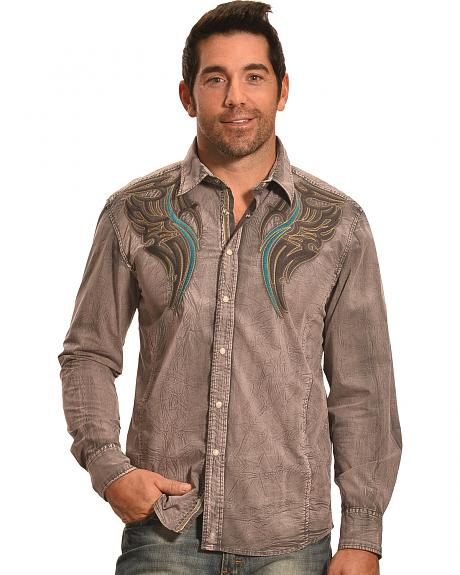 Crazy Cowboy Men's Grey Washed Embroidered Western Snap Shirt