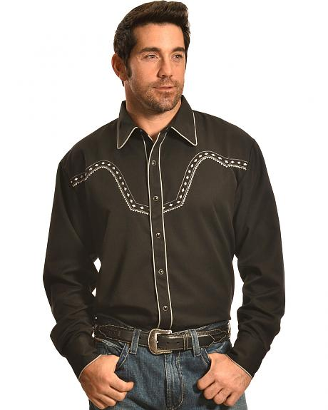 Crazy Cowboy Men's Black Stitched Western Snap Shirt