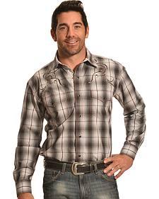 Crazy Cowboy Men's Black Plaid Embroidered Snap Shirt