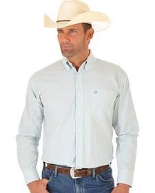 Wrangler George Strait Green & White Dobby Stripe Western Shirt