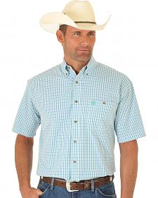 Wrangler George Strait White, Green and Blue Plaid Short Sleeve Shirt