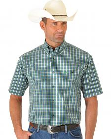 Wrangler George Strait Light Green and Blue Plaid Short Sleeve Shirt