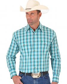 Wrangler George Strait Blue Green Plaid Two Pocket Snap Shirt