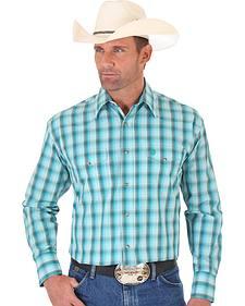 Wrangler George Strait Blue Green Plaid Two Pocket Snap Shirt