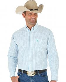 Wrangler George Strait Blue, White & Green Plaid Western Shirt