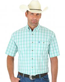 Wrangler George Strait Light Green and White Plaid Short Sleeve Shirt