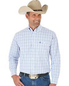 Wrangler George Strait Purple & White Plaid Western Shirt