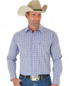 Wrangler George Strait Purple Plaid Two Pocket Snap Western Shirt
