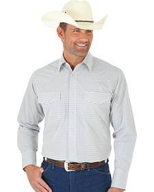 Wrangler Wrinkle Resist Men's Grey & Brown Plaid Western Shirt