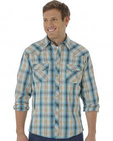 Wrangler Fashion Snap Men's Green & Khaki Plaid Western Shirts
