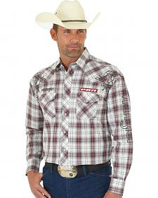 Wrangler Men's PBR Logo Western Snap Plaid Shirt