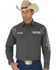 Wrangler Men's Grey and Black Dodge Ram Western Shirt