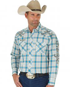 Wrangler Men's Blue and Khaki Plaid Logo Western Shirt