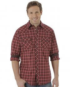 Wrangler Men's Dark Red Plaid 20X Western Shirt
