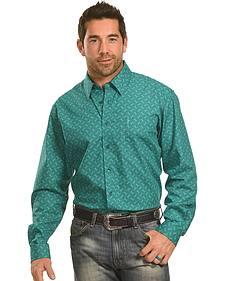 Cinch Men's Green Tonal Print Western Shirt