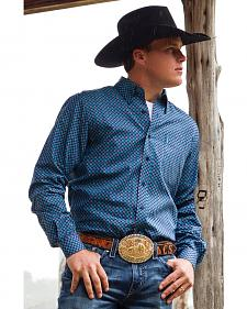 Cinch Men's Blue Print Long Sleeve Western Shirt