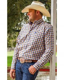Cinch Men's Blue Plaid Long Sleeve Western Shirt