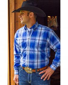 Cinch Men's Royal Blue Plaid Long Sleeve Western Shirt