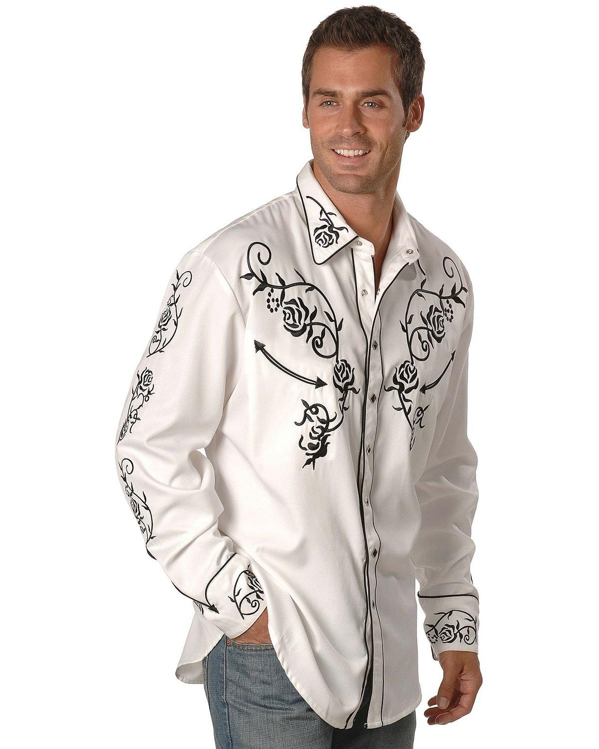Scully Men 39 S Floral Embroidered Vintage Western Shirt