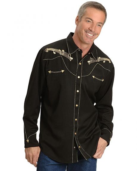 Scully Music Note Embroidered Retro Western Shirt