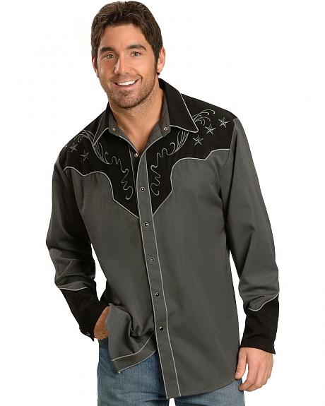 Scully Cross Embroidered Retro Western Shirt