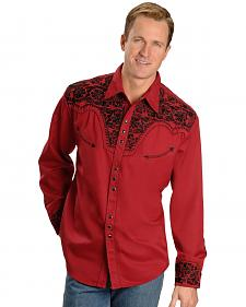 Scully Embroidered Red Retro Western Shirt