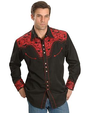 Scully Crimson Floral Embroidery Retro Western Shirt