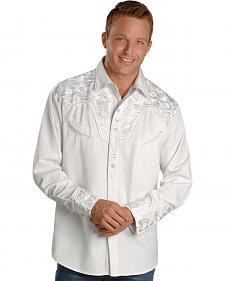 Scully White Floral Embroidery Retro Western Shirt