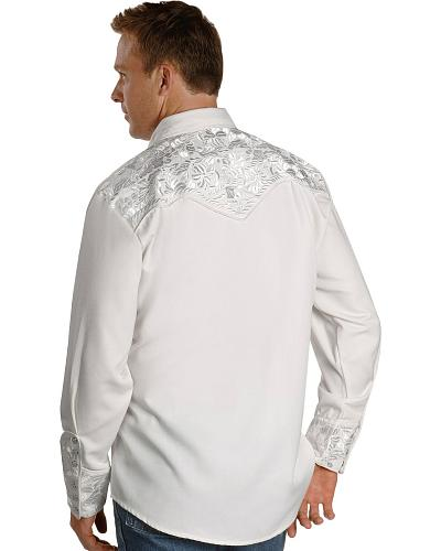 Scully White Floral Embroidery Retro Western Shirt $75.00 AT vintagedancer.com