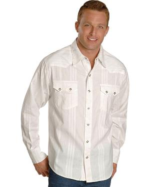 Scully White Dobby Striped Western Shirt