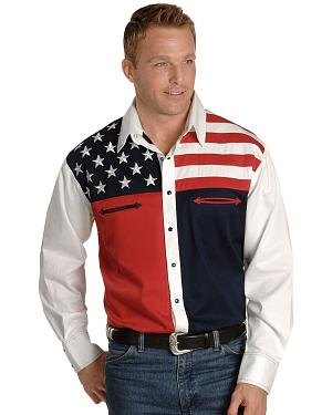 Scully Patriotic American Flag Colorblock Western Shirt