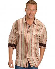 Scully Tan Seersucker Striped Western Shirt