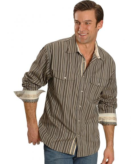 Scully Taupe Dobby Stripe Western Shirt