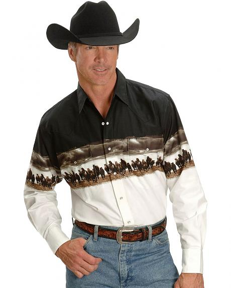 Ely Cumberland Outfitters Horse & Clouds Border Western Shirt
