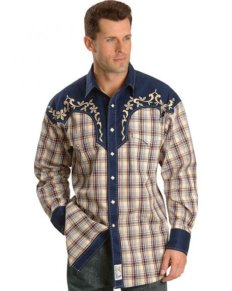 Panhandle Slim Riata Embroidered Plaid Retro Western Shirt