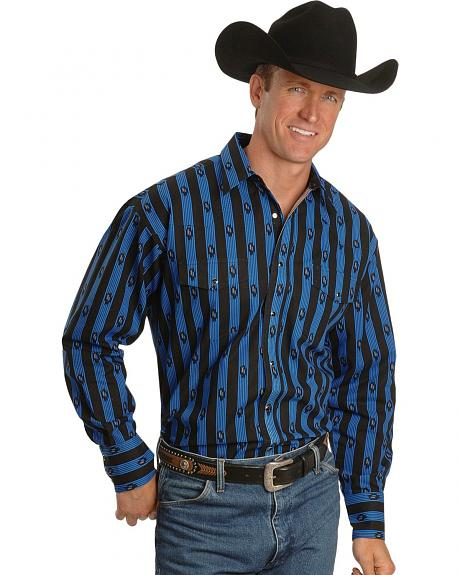 Wrangler Black Checotah Print & Stripes Western Shirt - Reg