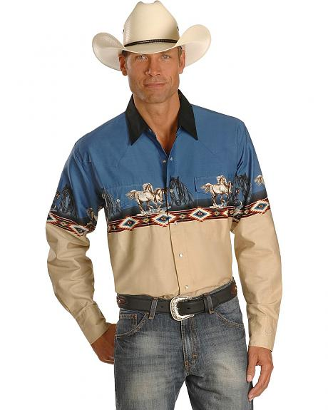 Cumberland Outfitters Running Horse Border Western Shirt