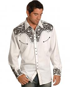 Scully Pewter-tone Embroidery Retro Western Shirt