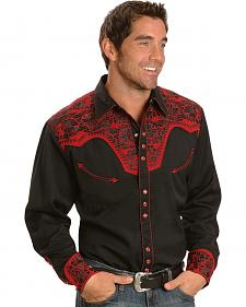 Scully Black and Red Embroidery Retro Western Shirt