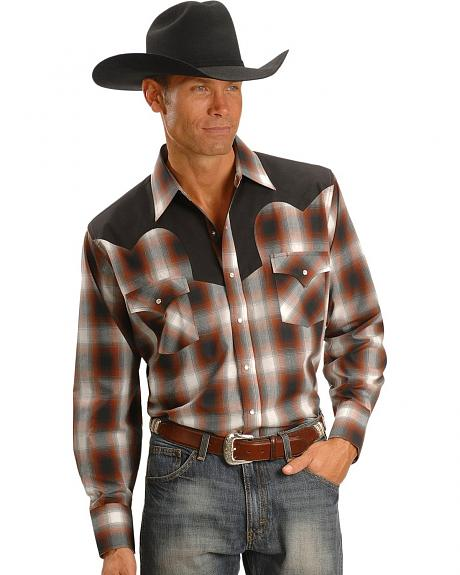 Ely Walker Rust Plaid Vintage Western Shirt