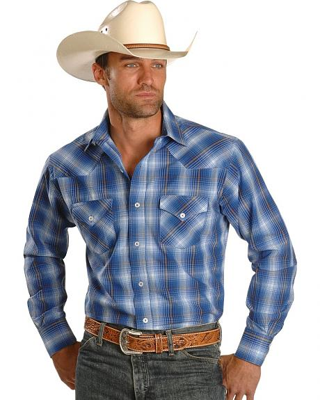 Rancho Estancia Two-Pocket Plaid Button Western Shirt