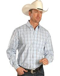 Wrangler George Strait Blue Satin Plaid Shirt at Sheplers