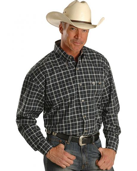 Wrangler George Strait Satin Plaid Western Shirt