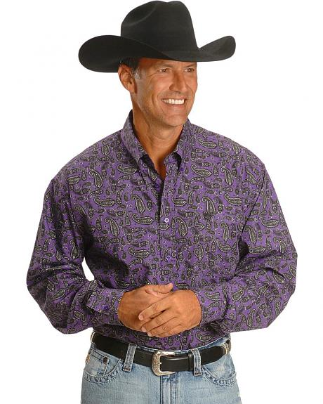 Cinch � Purple & Black Paisley Print Shirt
