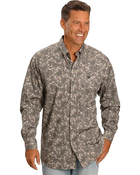 Cinch ® Grey Paisley Print Shirt