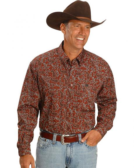 Cinch � Brick Red Paisley Print Shirt